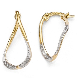 10k Gold with White Rhodium-plated Polished & Diamond Cut Oval Hoop Earrings